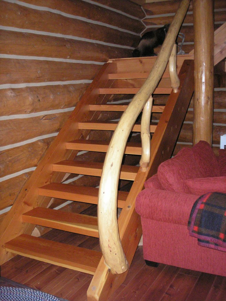 Stonehouse woodworks photo gallery custom log homes for Pre built staircase