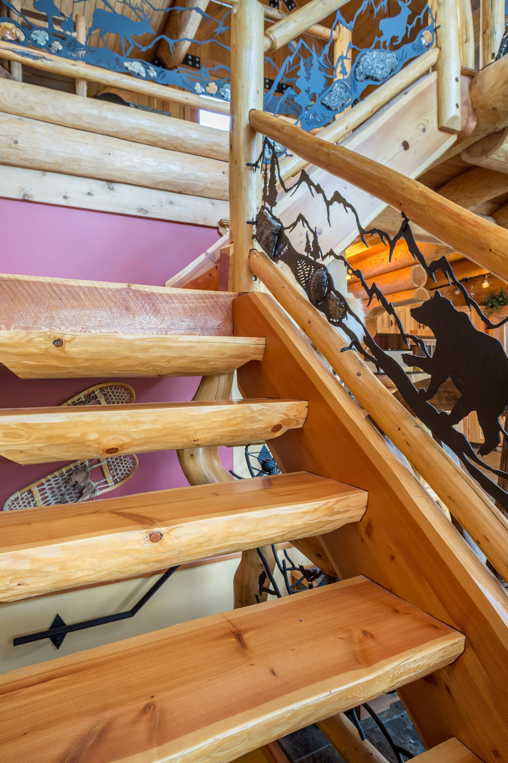 Log Stairs Timber Stairs Stonehouse Woodworks Design Art Golden British Columbia