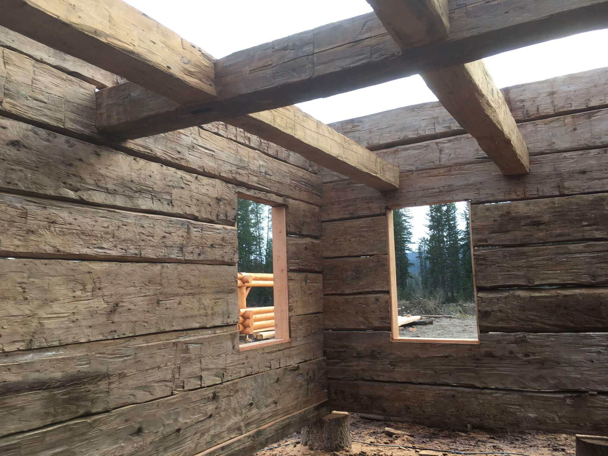 For sale hand hewn heritage log shell this building for Two storey log cabins for sale